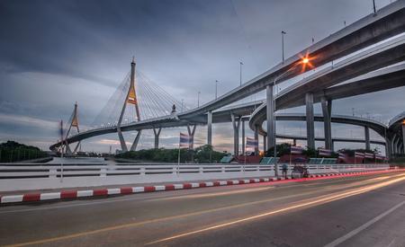 bhumibol: Bhumibol Bridge at sunset, Bangkok, Thailand Stock Photo