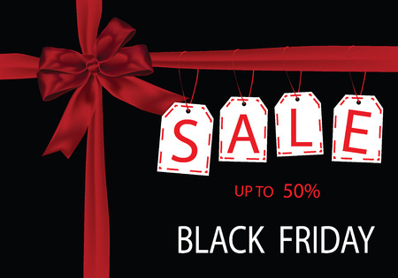 gift giving: Gift Giving Black Friday sale tag with red ribbon on the black background. vector stock illustration.