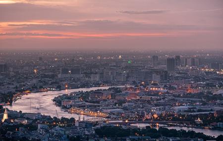 arial view: Arial view of Bangkok city at sunset. Grand palace and Wat Phra Kaeo Editorial