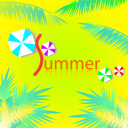 Summer Background with Colorful Umbrella and coconut tree.