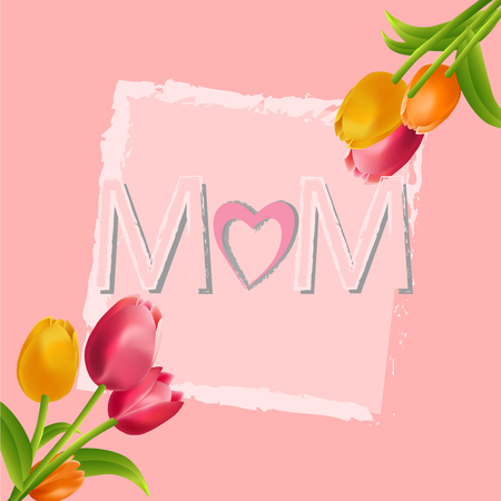 I love you, mom. Mothers day colorful tulips flower background.