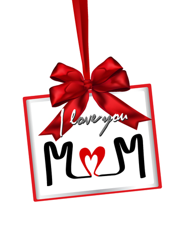 Happy Mothers Day Greeting with gift box. Vector illustration.