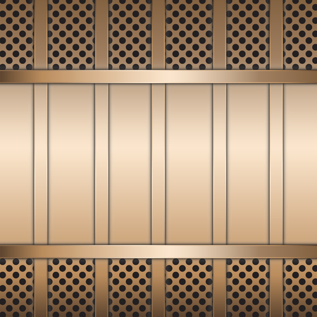 Stainless steel metal plate perforated and steel bar background. Vector design. Illustration