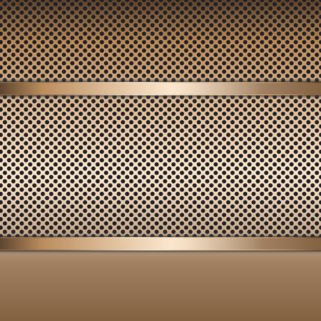 Fundo perfurado com placa de metal de aço inoxidável. Design vetorial.