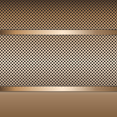 Stainless steel metal plate perforated background. Vector design. Ilustrace