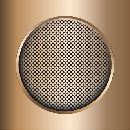 Circular brushed metal and perforated texture background.