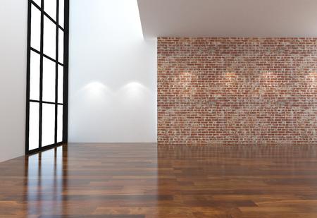 空の白とレンガの壁と木製の床部屋インテリア 3 D イラスト
