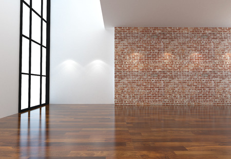 Empty white and  brick wall and wooden floor room interior 3D illustration