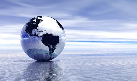 크롬 행성 지구 물 꼭대기에 반영 스톡 콘텐츠
