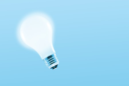 precipitate: Glowing light bulb on a light blue background