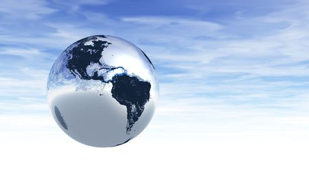 3D rendering of planet Earth in a cloudy sky