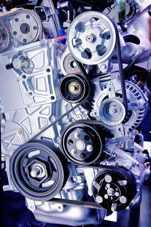 serpentine: Close-up of a serpentine belt on a High-end Turbo-charged sportscar