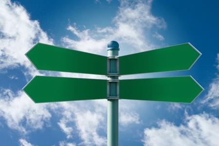 business dilemma: Customizable green street sign on a blue cloudy sky