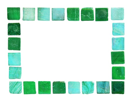 Frame of green and turquoise tiles