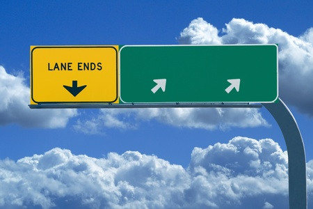 business dilemma: Blank freeway sign ready for your custom text