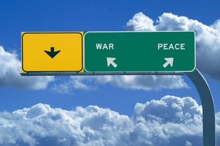 Freeway sign in blue cloudy skies reading War and Peace photo