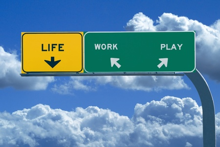 difficult journey: Freeway Sign on bright cloudy day reading  Life, Work, Play