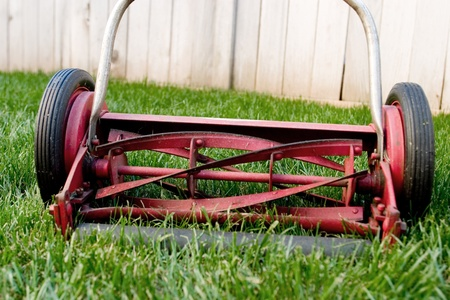 Old reel lawnmower closeup Stock Photo - 13003240