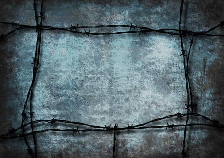Red grunge background framed with barbed wire Stock Photo - 13003011