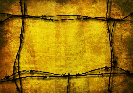 Red grunge background framed with barbed wire Stock Photo - 13003104
