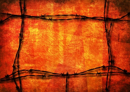 Red grunge background framed with barbed wire photo
