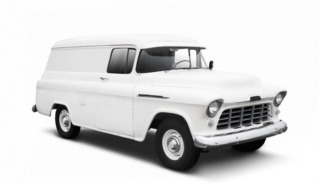 Vintage White delivery van isolated on white background with drop shadow Stock Photo