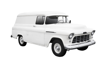 Vintage biały samochód dostawczy na białym tle