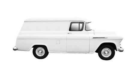 Altweiß Lieferwagen auf weißem Hintergrund Seitenansicht isoliert Standard-Bild - 13002529
