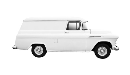 vintage truck: Vintage White delivery van isolated on white background side view Stock Photo