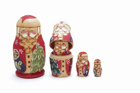 'hide out': Santa Claus nesting dolls