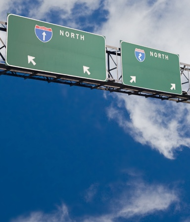 customizable: Customizable Freeway sign giving two choices Stock Photo