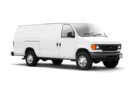 Biały samochód dostawczy na białym tle z cienia