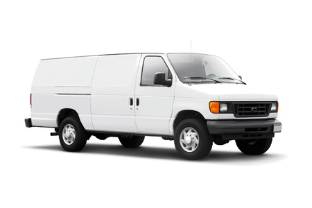 delivery service: White delivery van isolated on white background with drop shadow Stock Photo