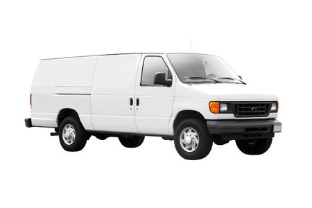 Biały samochód dostawczy na białym tle