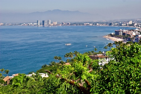 Scenic view of Puerto Vallarta, Mexico from high on a hilltop Stock Photo