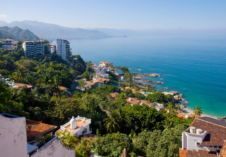 Scenic view of the beautiful coastline of Banderas Bay, Puerto Vallarta, Mexico