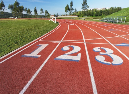 Running rack showing the 1, 2 and 3 lanes at the starting line