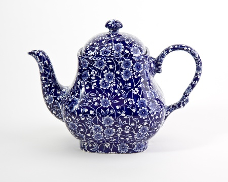 Ornate blue china teapot