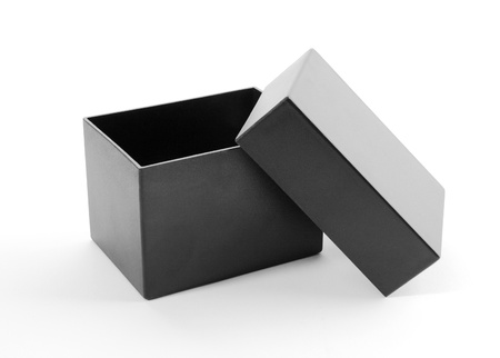 Close-up of an open black gift box Stock Photo