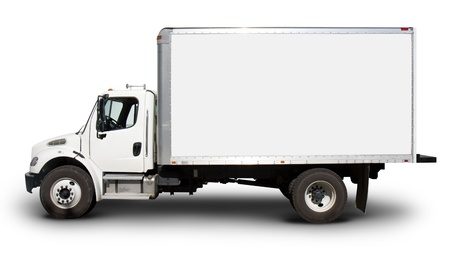 relocating: Plain white delivery truck with blank sides and blank cab, ready for custom text or logos