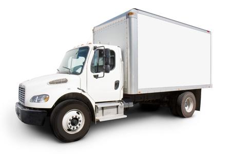 Plaine camion de livraison blanc avec des côtés prêts à un texte personnalisé et logos