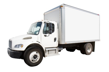 Plain white delivery truck with sides ready for custom text and logos photo