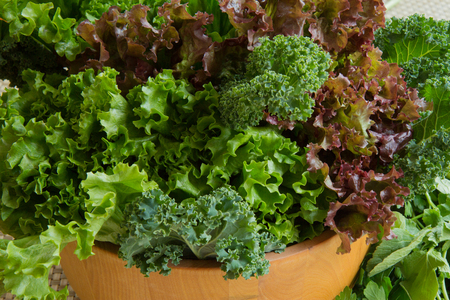 Close-up of healthy greens in a salad bowl