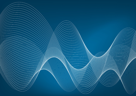 White wavy lines on a blue background Stock Photo