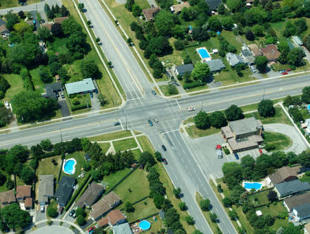 Aerial view of residential area in typical suburb home community in Ontario, Canada Stock Photo