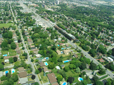 Aerial view of residential area in typical suburb home community in Ontario, Canada photo