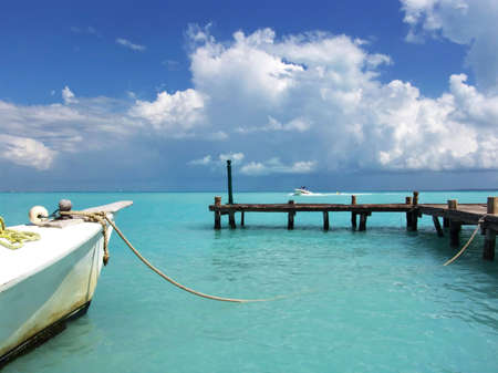 Travel Destination:  Azure Caribbean Sea, Cancun, Mexico Stock Photo