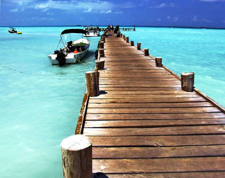 Planked foot way to ocean,  Caribbean Sea, Cancun, Mexico