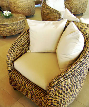 Empty Comfortable Retro Armchair in hotel lobby