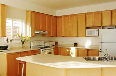 Modern House Interior: New Kitchen with Maple Cabinets 免版税图像 - 2933239